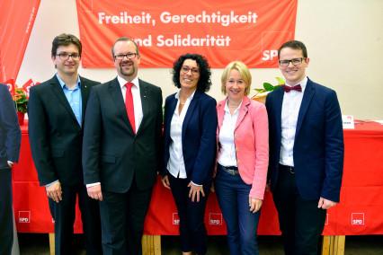 v.l.n.r. Robin Haseler, Thorsten Meyerer, Helga Raab-Wasse, Martina Fehlner (MdL), Jörg Pischinger